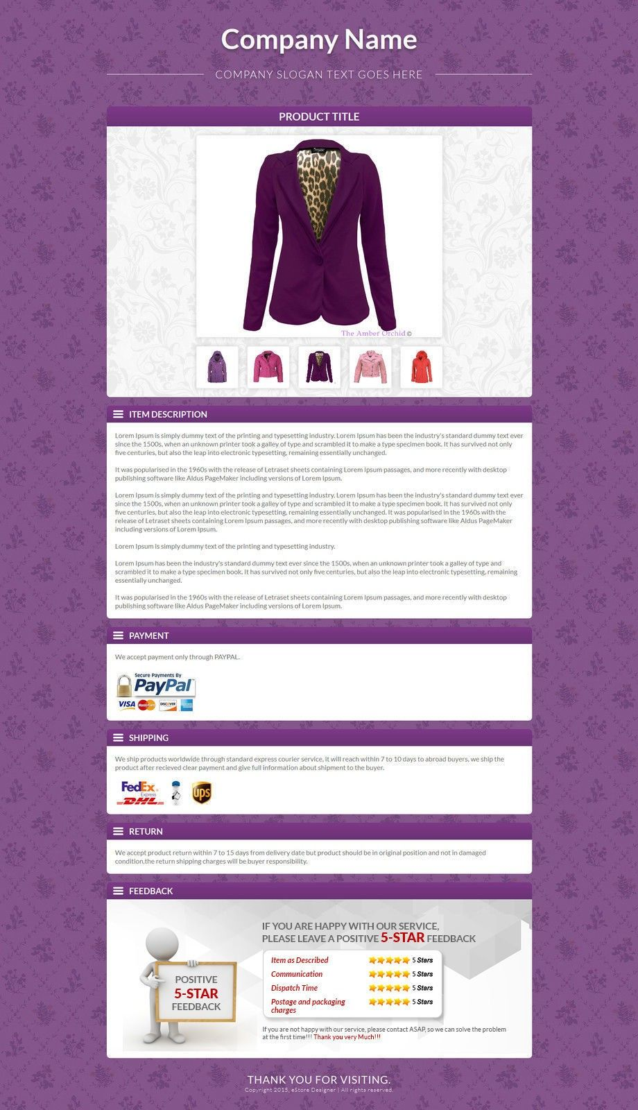 Ebay Description Templates To List Designer Apparel Products For