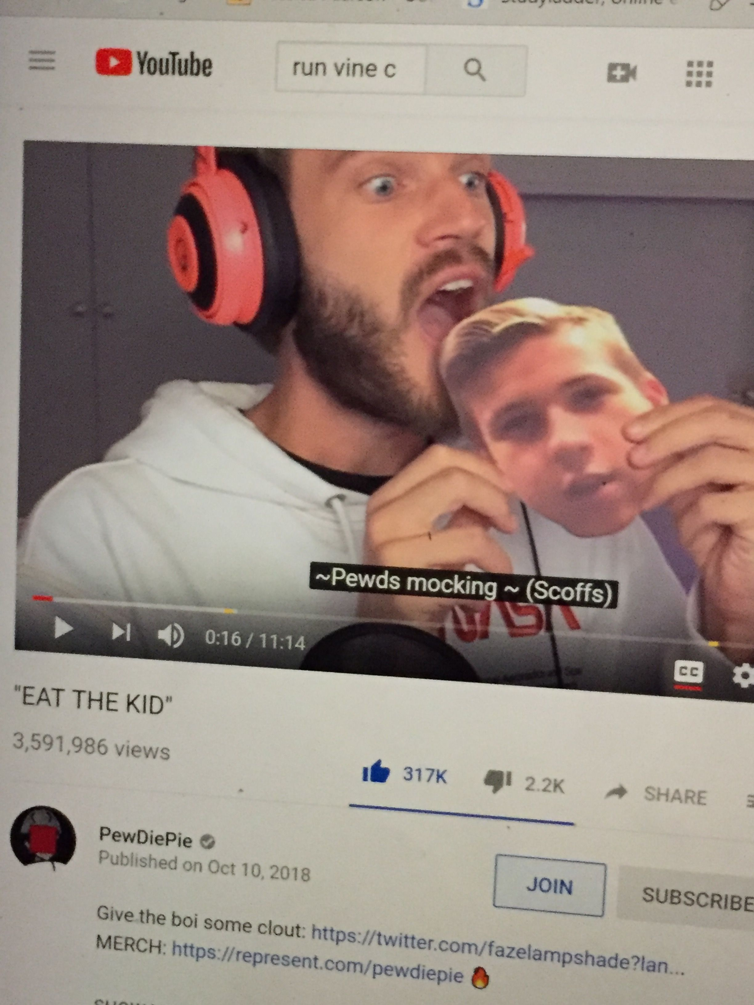 Pewdiepie finally ate a picture of him!!! Pewdiepie
