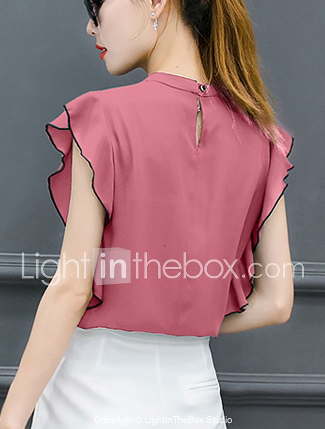 Mulheres Blusa Moda de Rua Frufru   Fashion   Fivela f953b0581c022