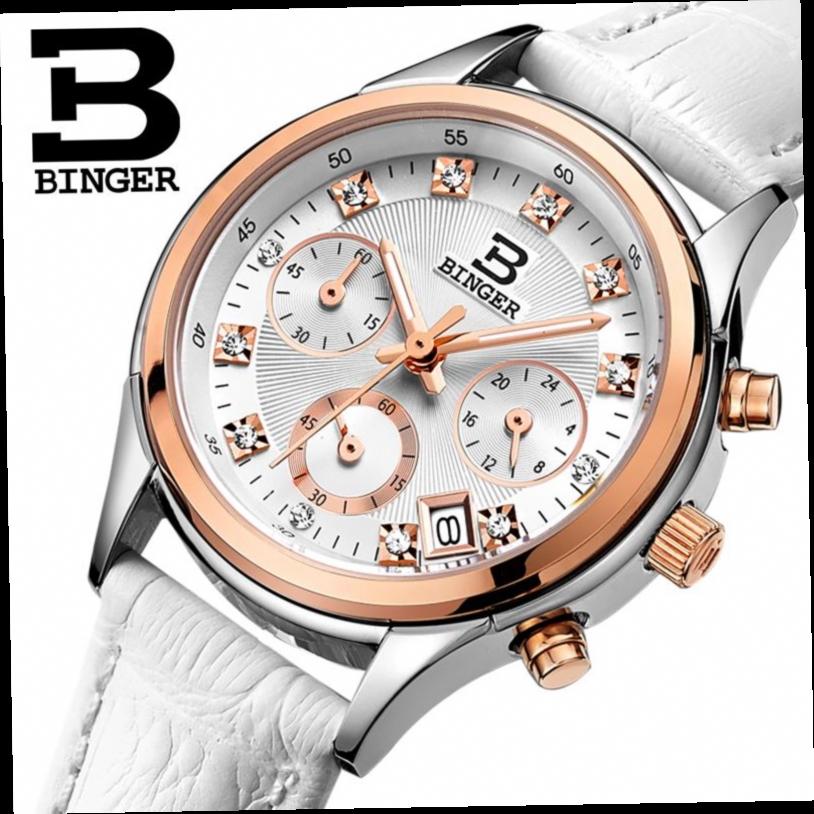 52.63$  Watch here - http://aligqk.worldwells.pw/go.php?t=32547655423 - Switzerland Binger watches women luxury quartz waterproof genuine leather strap Chronograph Wristwatches BG6019-W6 52.63$