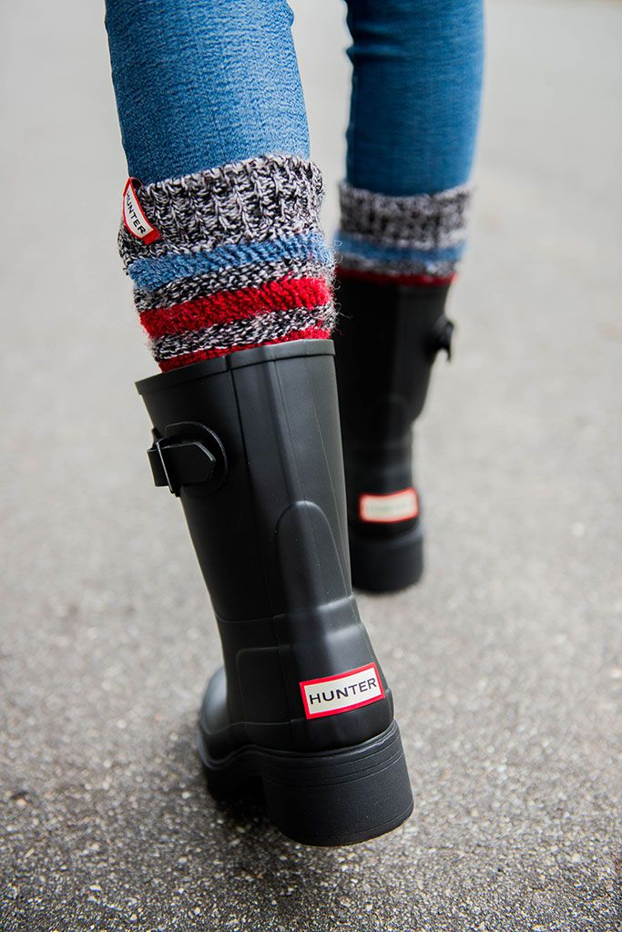 HUNTER RAIN BOOTS + STRIPED BOOT SOCKS | Get in my closet