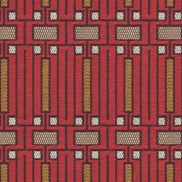 Art Deco Art Nouveau Red Flat-Weave Curtain and Upholstery ...