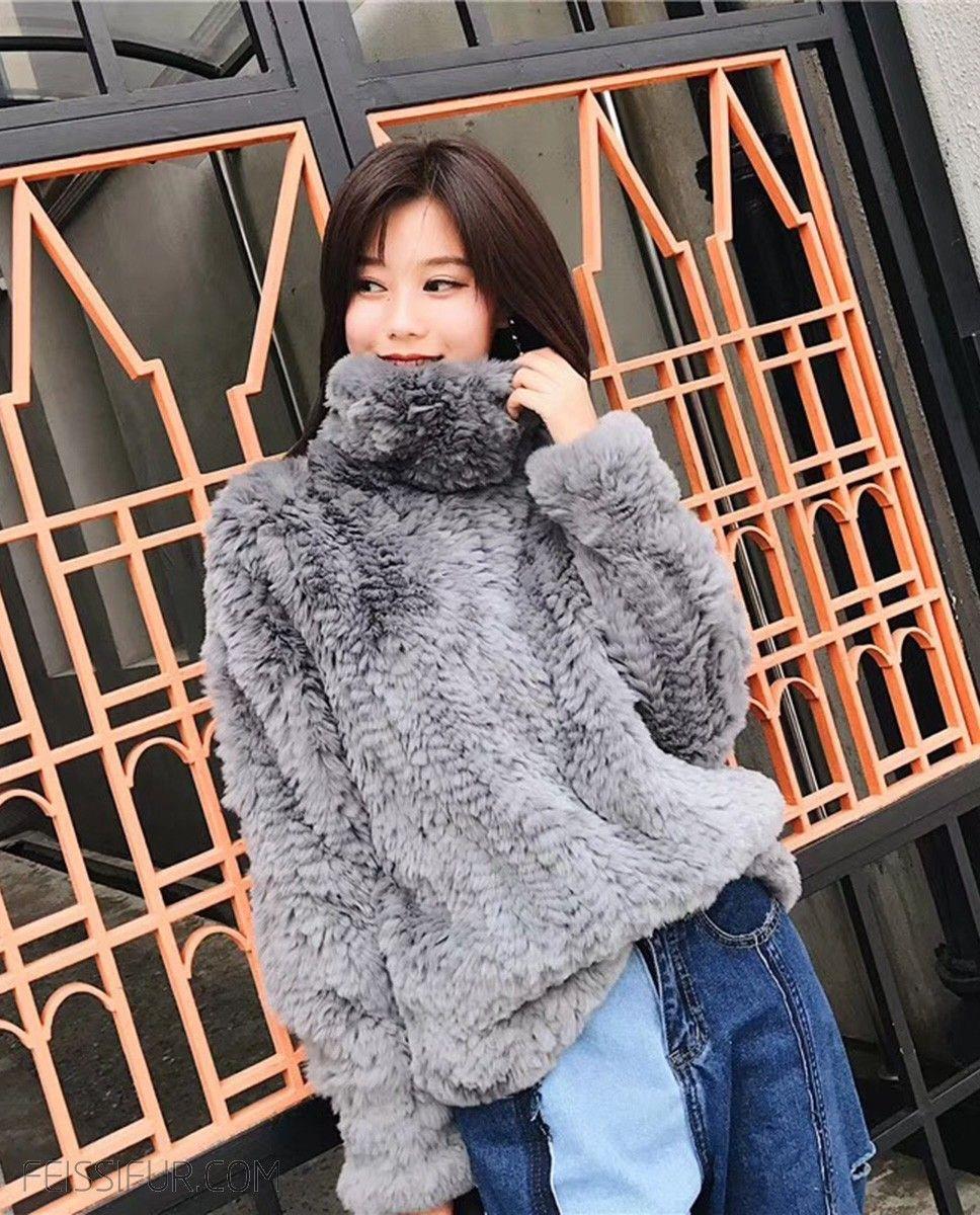 Lady Real Rabbit Fur Knitted Short Coat Jacket Full Sleeve Cardigan Xmas Present