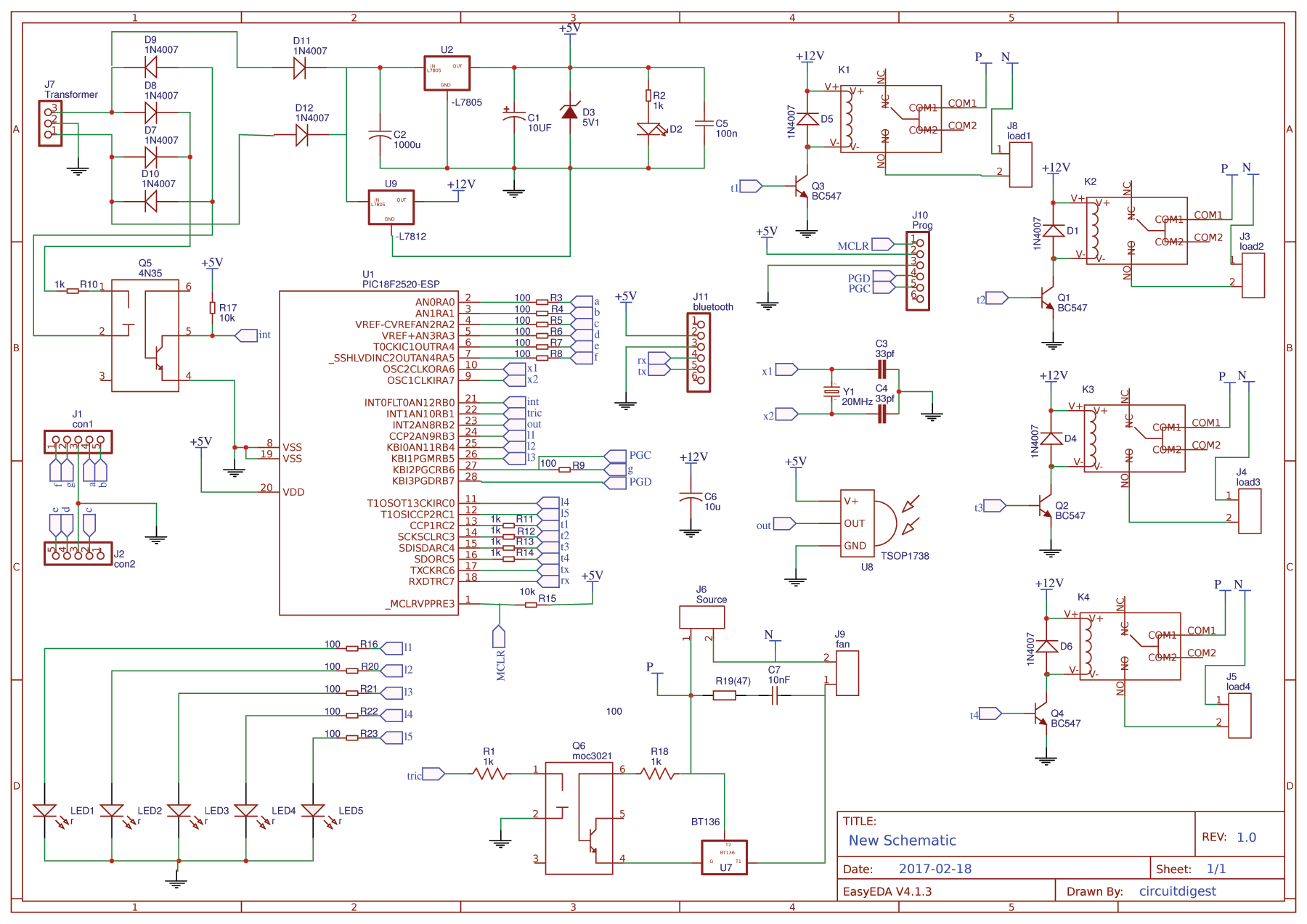 Circuit Diagram for PIC Microcontroller Based Remote