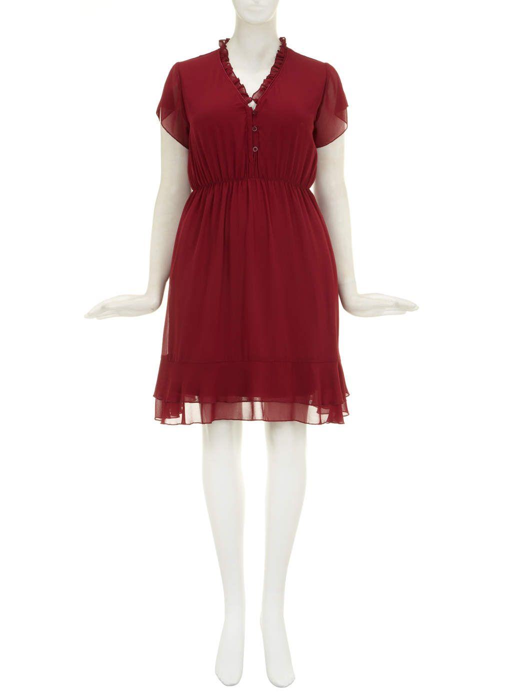 Lovedrobe red plain ruffle neck dress ruffle neck dress