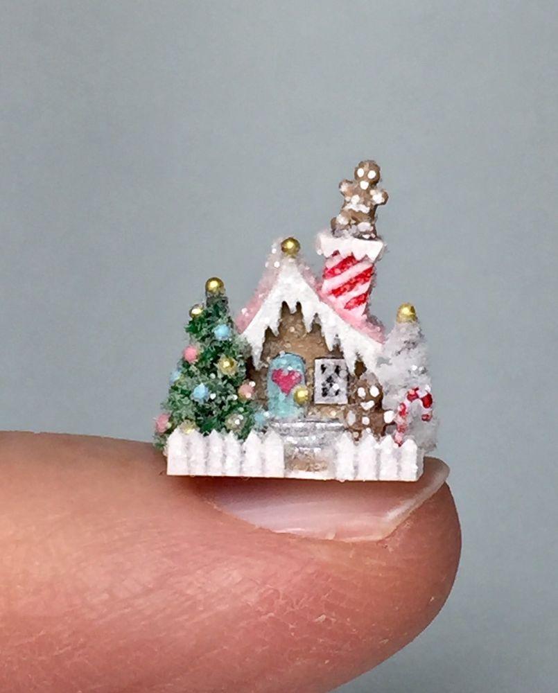 Ooak Miniature Christmas Gingerbread House Dollhouse Holly Allen Ebay Miniature Christmas Glitter Christmas Christmas Gingerbread House