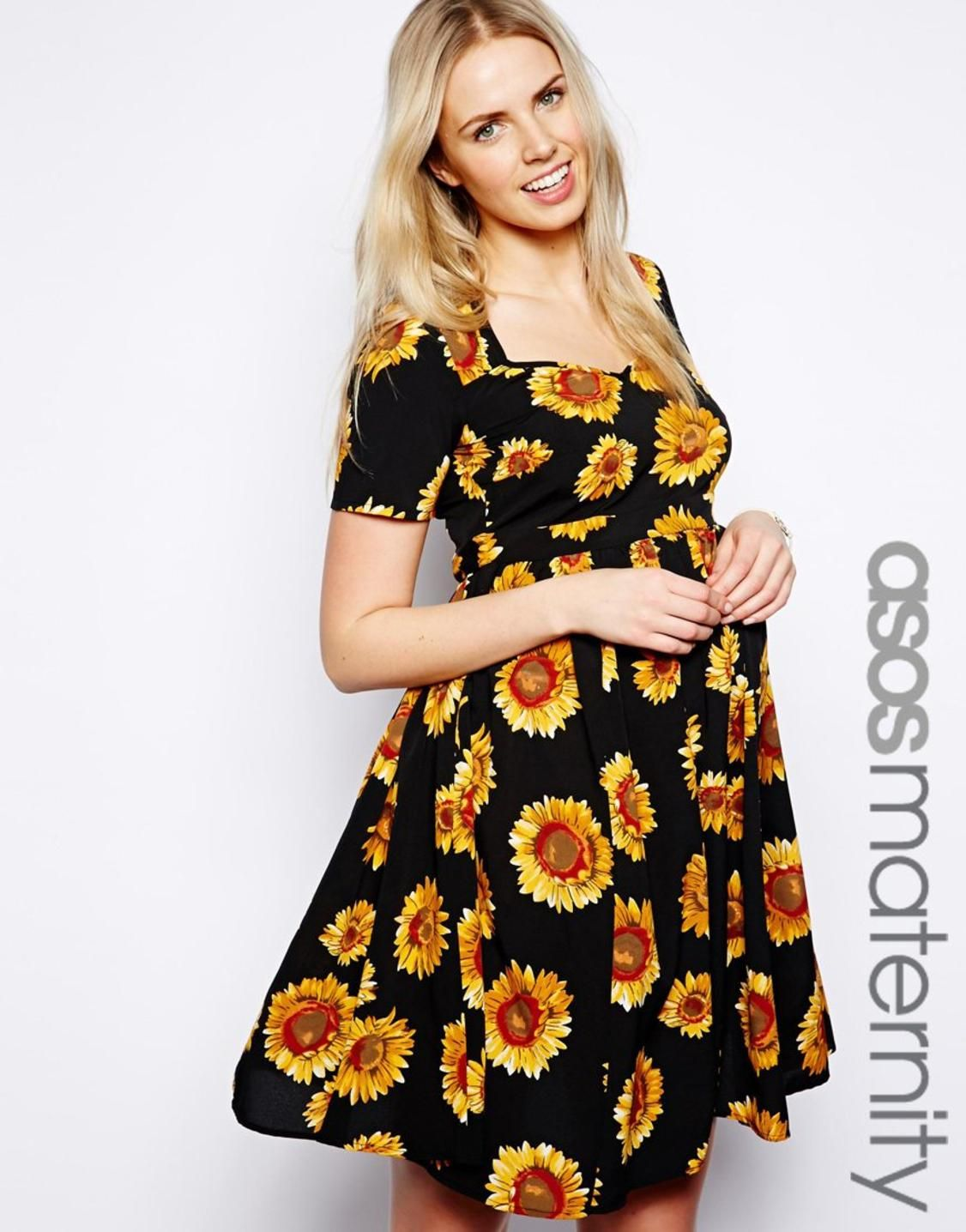 Asos maternity exclusive skater dress in sunflower print http maternity dress exclusive to the asos maternity collectiondesigned to fit through all stages of pregnancy made from a woven poly fabricsweetheart neckli ombrellifo Image collections