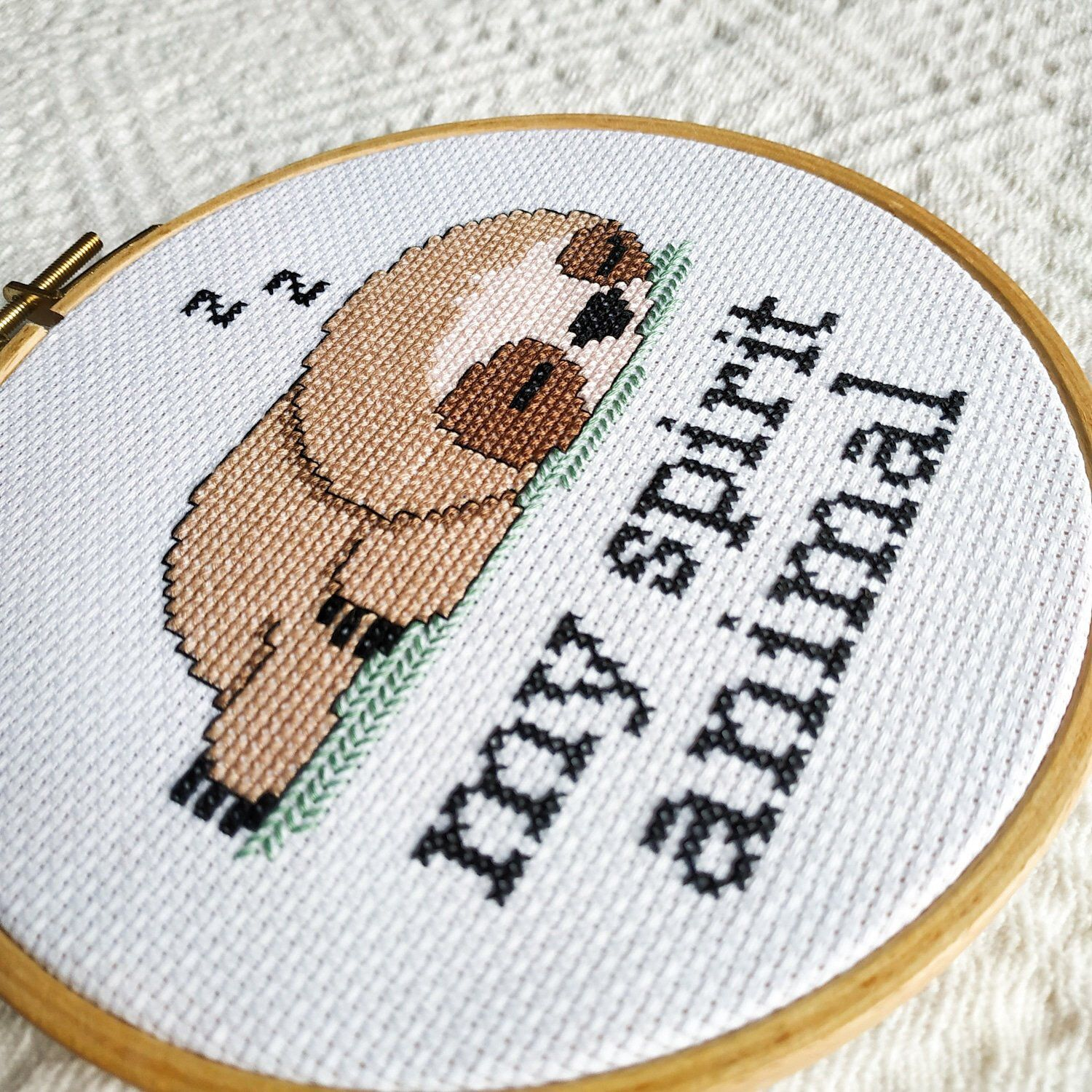 Photo of Sloth cross stitch pattern PDF. Funny small crossstitch chart for beginner. My spirit animal embroidery quote