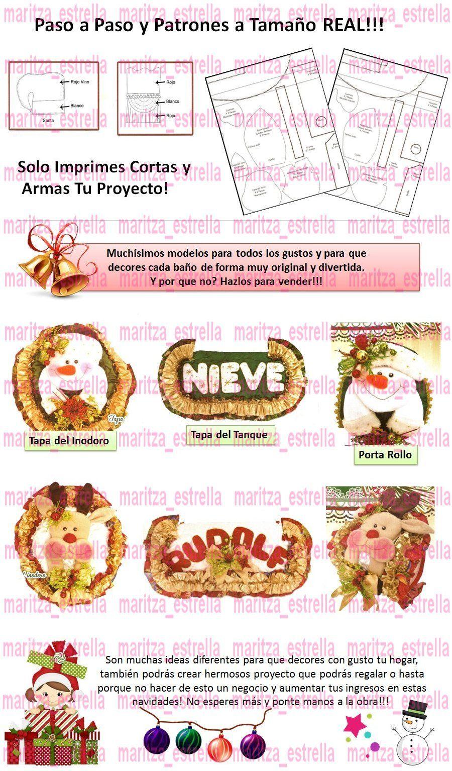 Kit Patrones Lenceria Navidad Juegos De Baños Muñecos Arbol - Bs ...