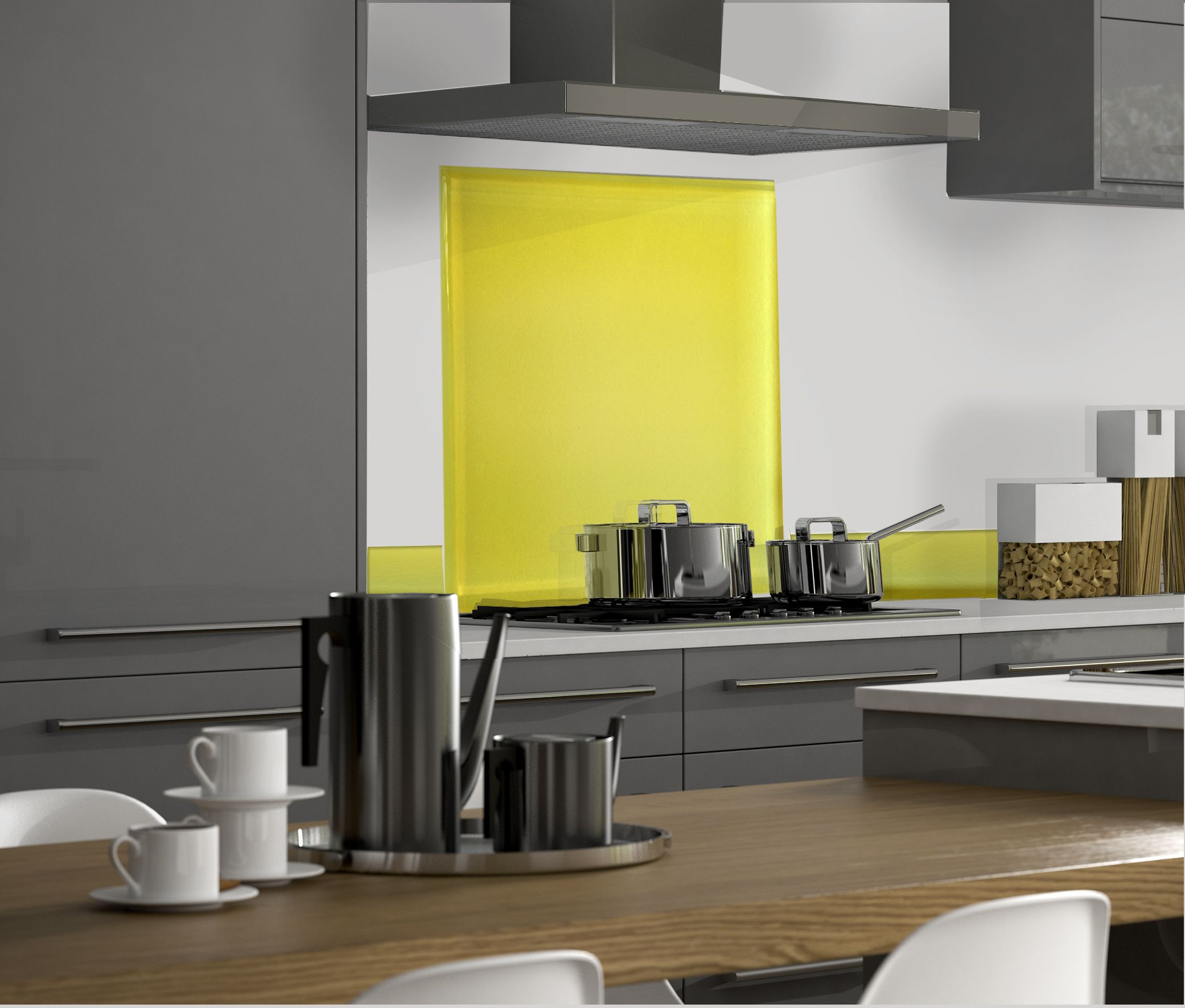 Credence Cuisine: Lemon Glass Splashback #backsplash #kitchen #kitchens