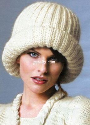 шапка с отворотом английской резинкой снуды вязанная шапка