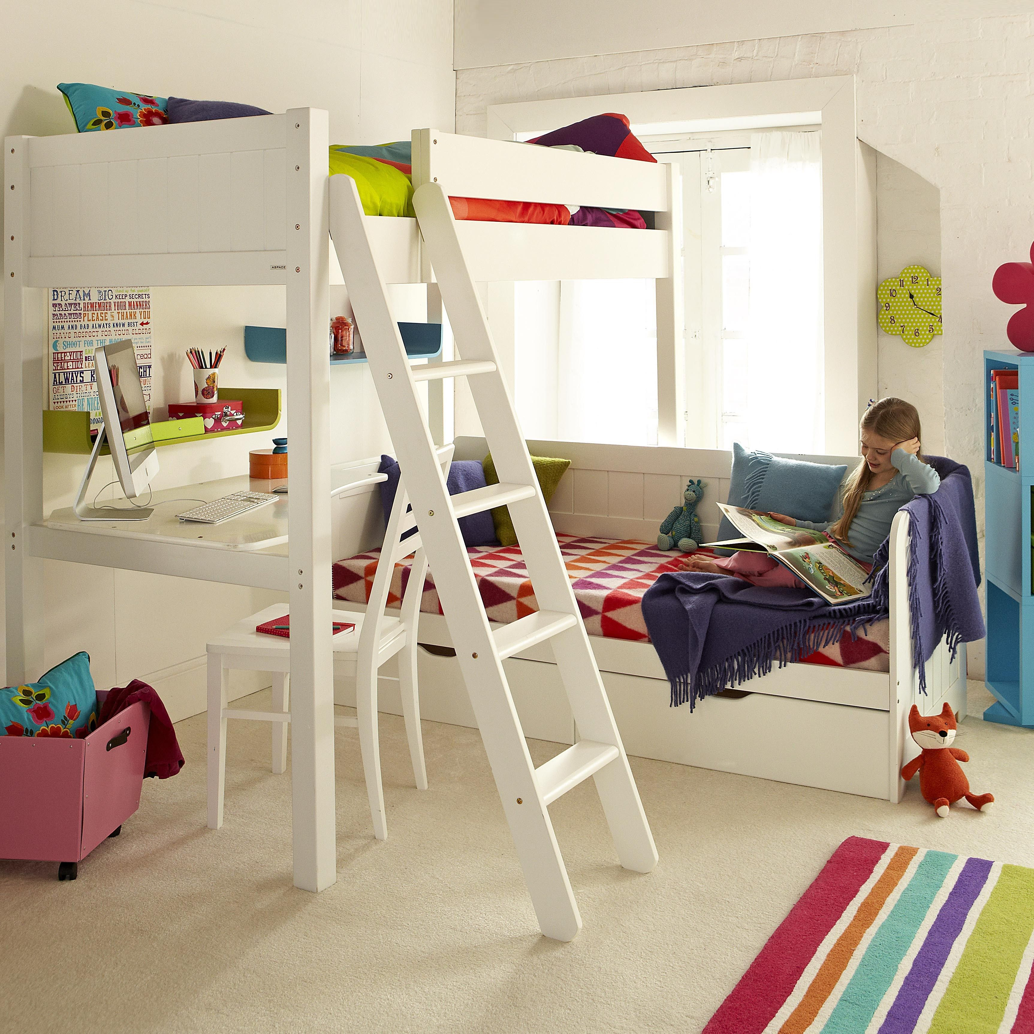 Loft bed with desk white  Save them from a lack of space in an instant with the power of