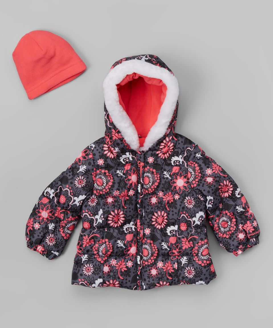 1f038a75a Love this London Fog Pink Floral Chic Puffer Jacket   Beanie ...