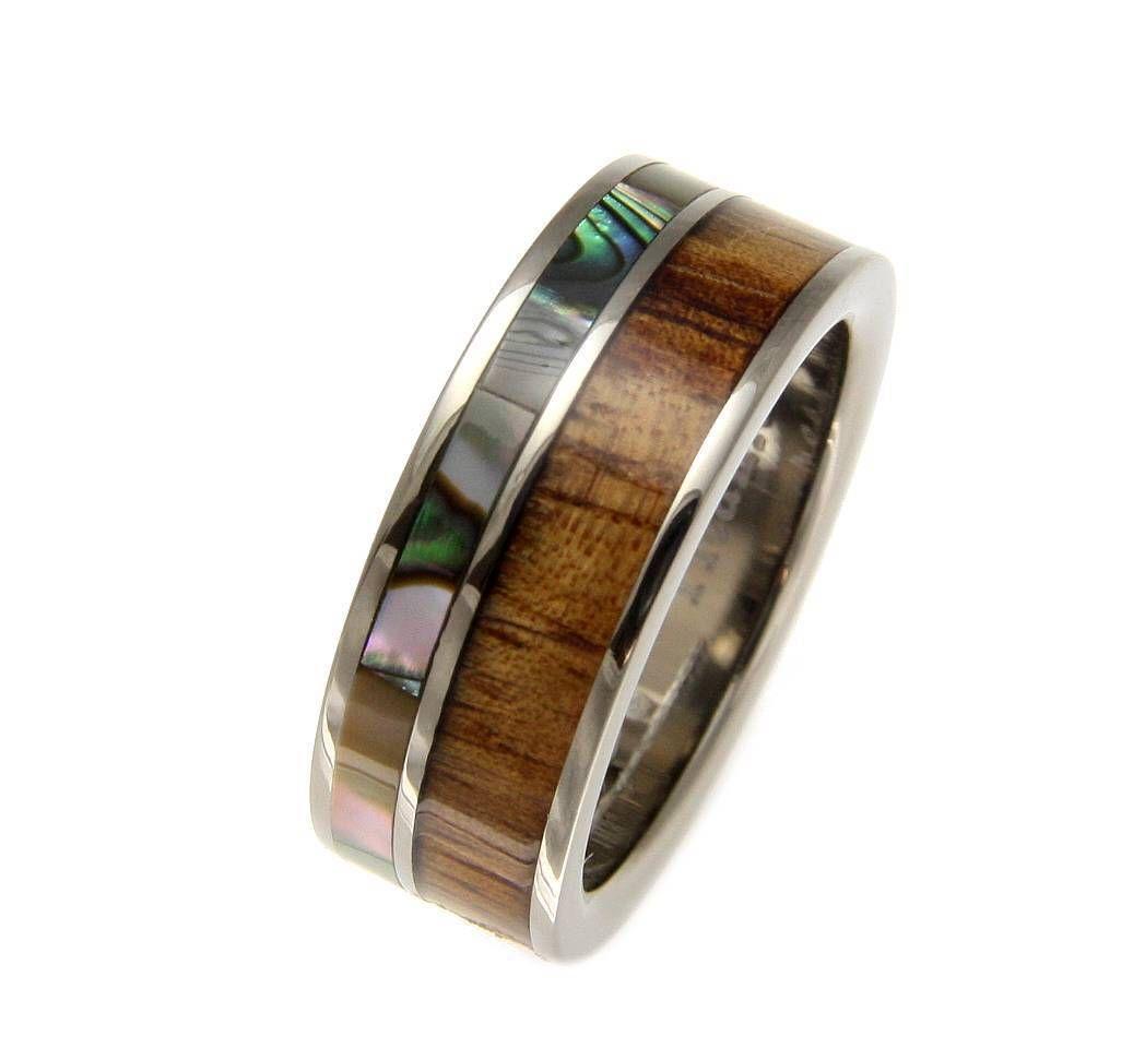Genuine inlay hawaiian koa wood abalone wedding band ring titanium