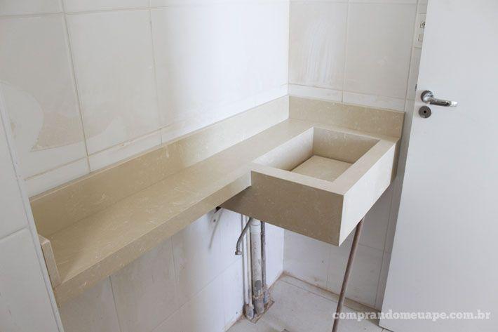 Meu apê pedras e bancadas de quartzo e mármore  Cuba and House -> Cuba Para Banheiro Pequena