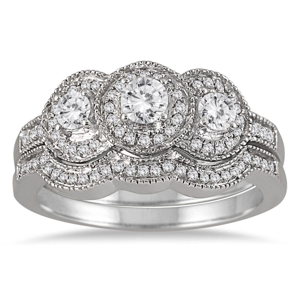 Marquee Jewels 10k White Gold 3/4ct TDW Threestone