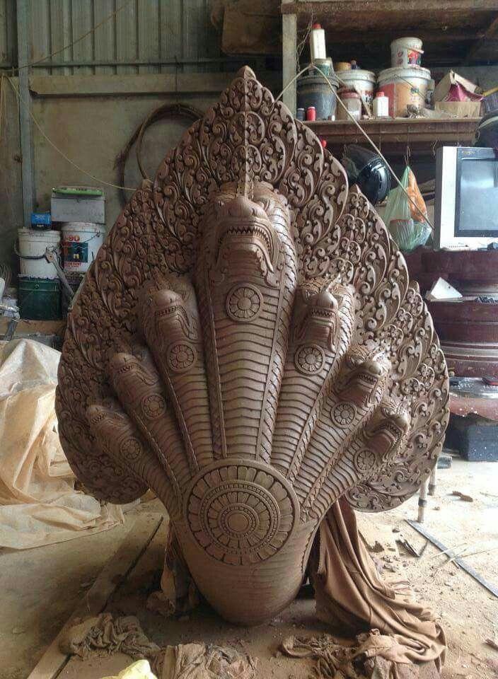 ปักพินโดย Hun Ratha ใน ក្បាច់អង្គរ ศิลปะไทย, รูปปั้น, นกแก้ว