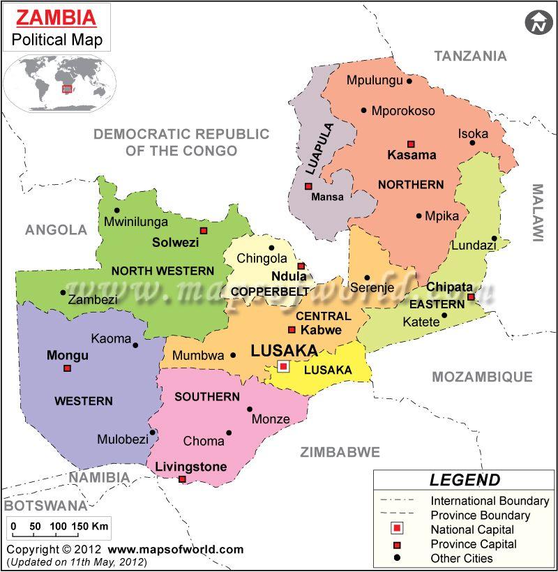 Mapa de Zambia, Zambia Mapa | Peace corps, Africa and African holidays