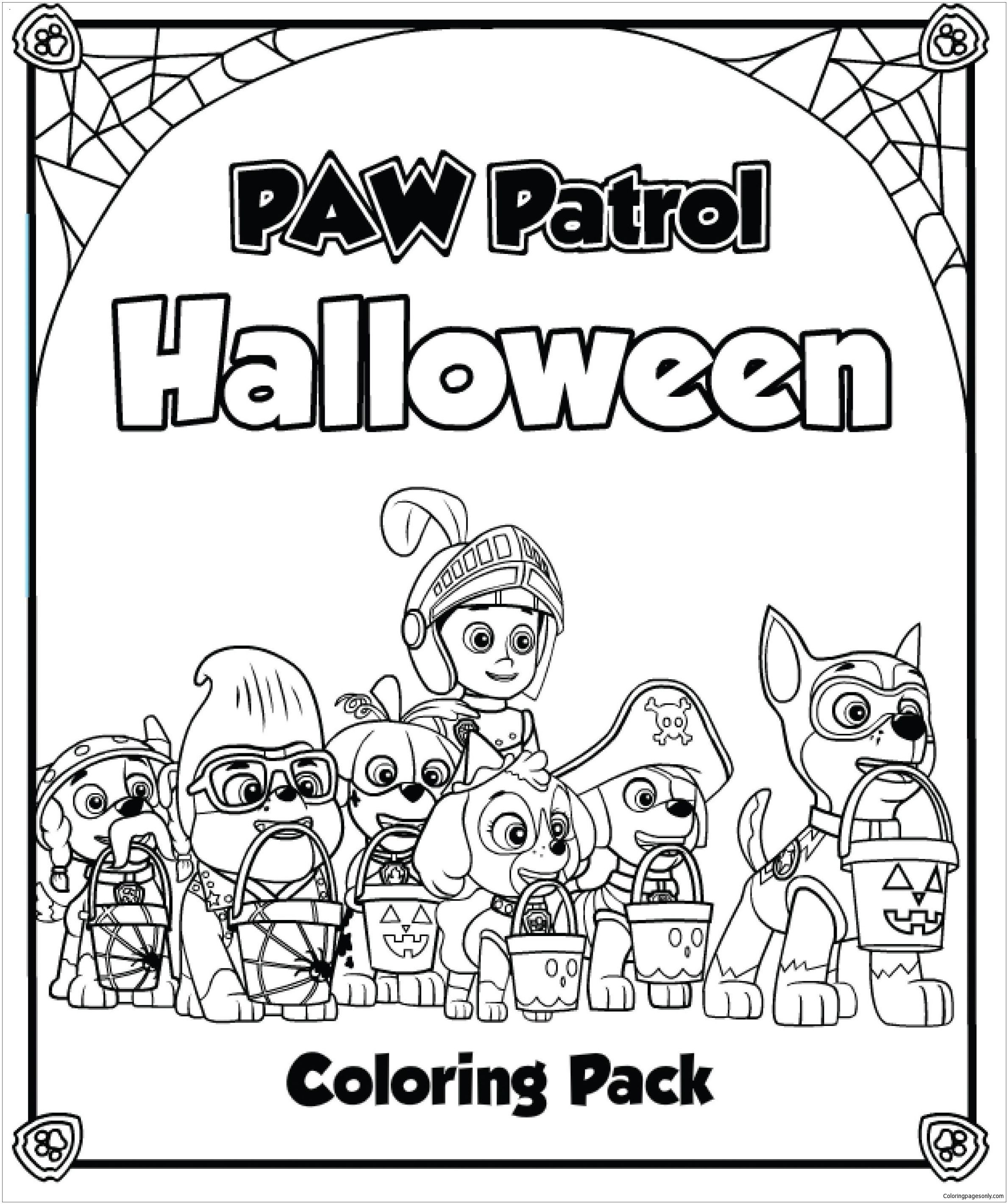 Paw Patrol Halloween 2 Coloring Page Paw Patrol Coloring Pages