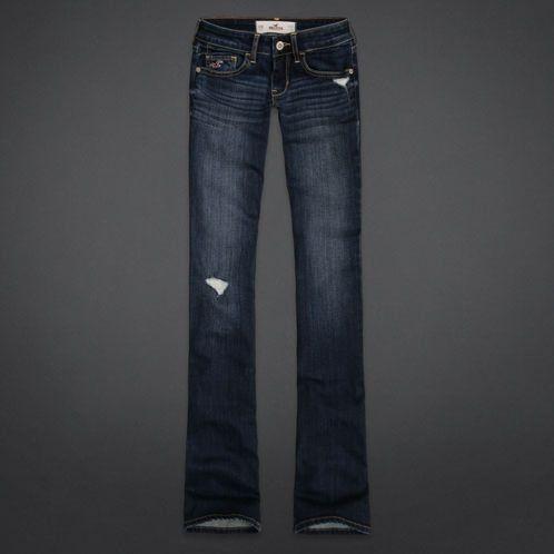 Hollister Ripped Bootcut Jean- Dark Wash - Hollister Ripped Bootcut Jean- Dark Wash Jeans And Shorts