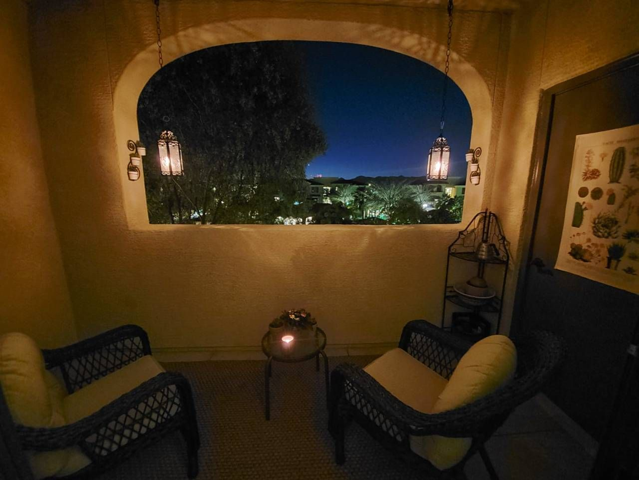We Hung Candle Lit Lanterns From Our Apartment Patio Ceiling Phoenix Az In 2020 Cozy Place Interior Design Inspiration Hanging Candles