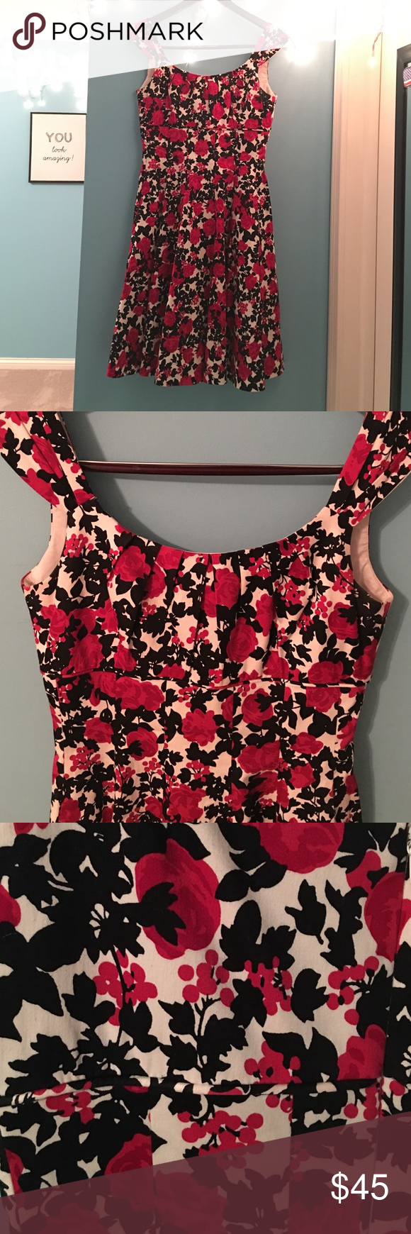 White House Black Market floral dress Beautiful black, red and white floral print dress. Pleated at bust line and pleated skirt with a flattering empire waist. Zipper in the back. Very flattering silhouette. White House Black Market Dresses Midi