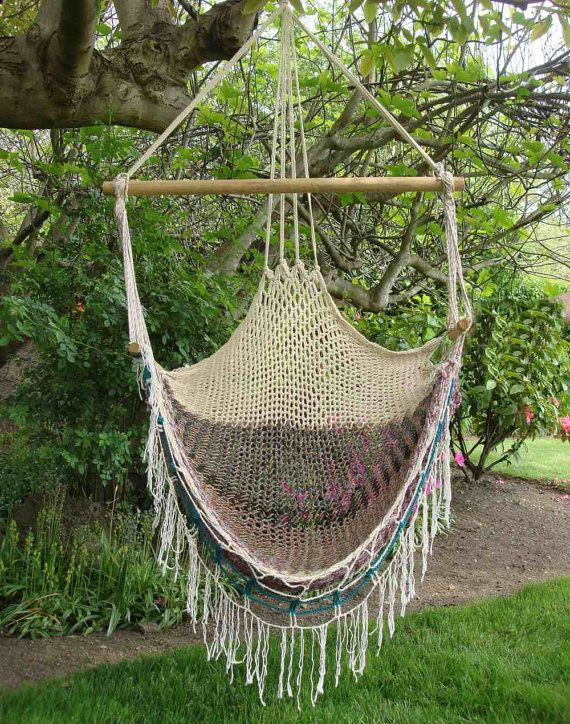 vintage macrame hammock swing chair 1970s by jbhoffman on