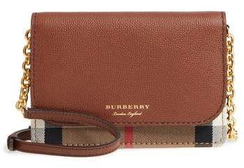 Burberry Hampshire House Check   Leather Wallet on a Chain  1e3636e80d5d2