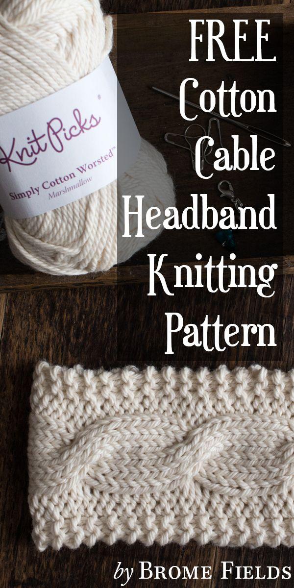 FREE Cotton Headband Knitting Pattern by Brome Fields #knitheadbandpattern