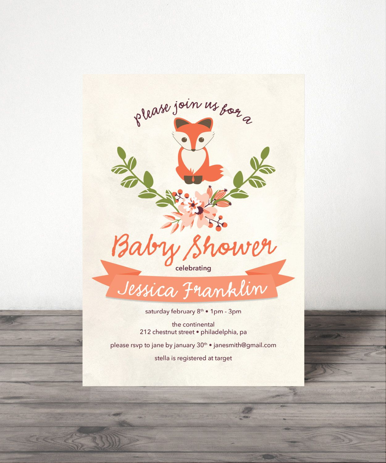 baby shower invitation for twins%0A Baby Fox  Baby Shower Invite  Woodland Baby Shower  Gender Neutral Baby  Shower Invite