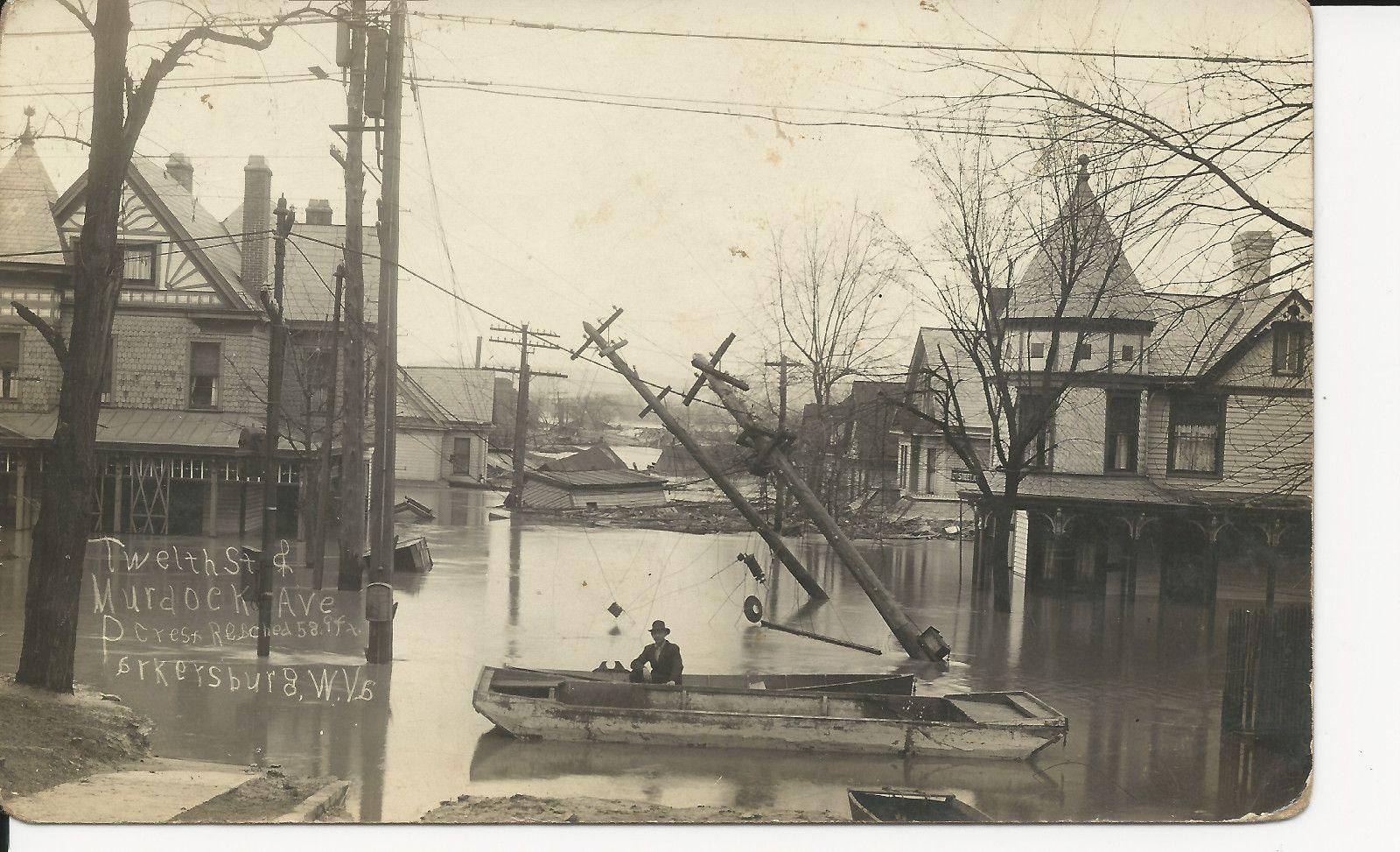 Parkersburg Wv Flood 1913 12th St Murdoch Ave Real Photo 1913 West Virginia History Parkersburg Parkersburg Wv