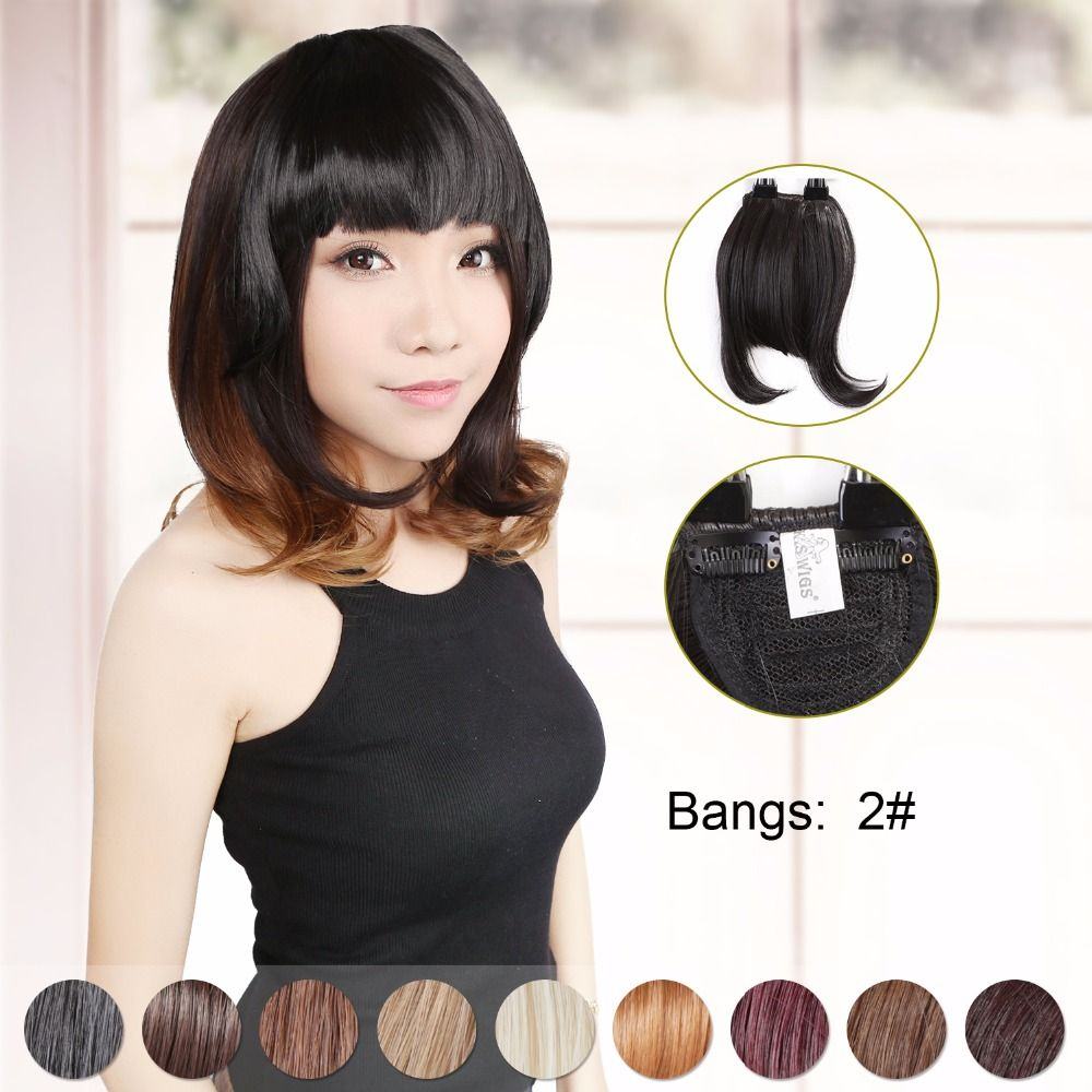 Neitsi Synthetic Clip In Hair Bangs Extensions Natural Fringe Bangs