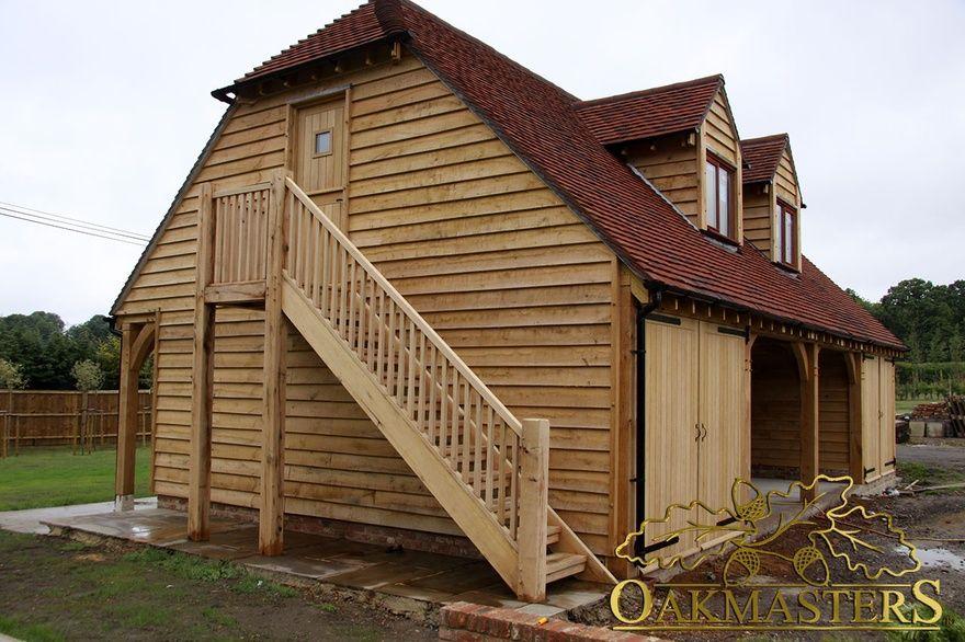 4bay semi closed oak garage with loft space Oakmasters