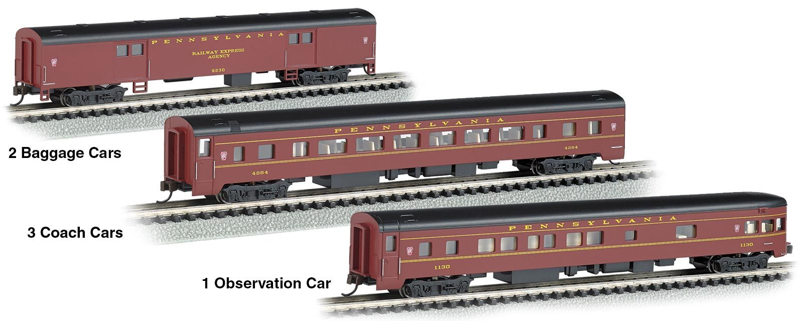 2e968224a4c3 Bachmann N Scale Smooth-Side Baggage, Coach and Observation Car Set ...