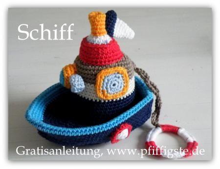 Crochet boat. Free pattern. | amigurumi | Pinterest | Häkeln, Mäuse ...