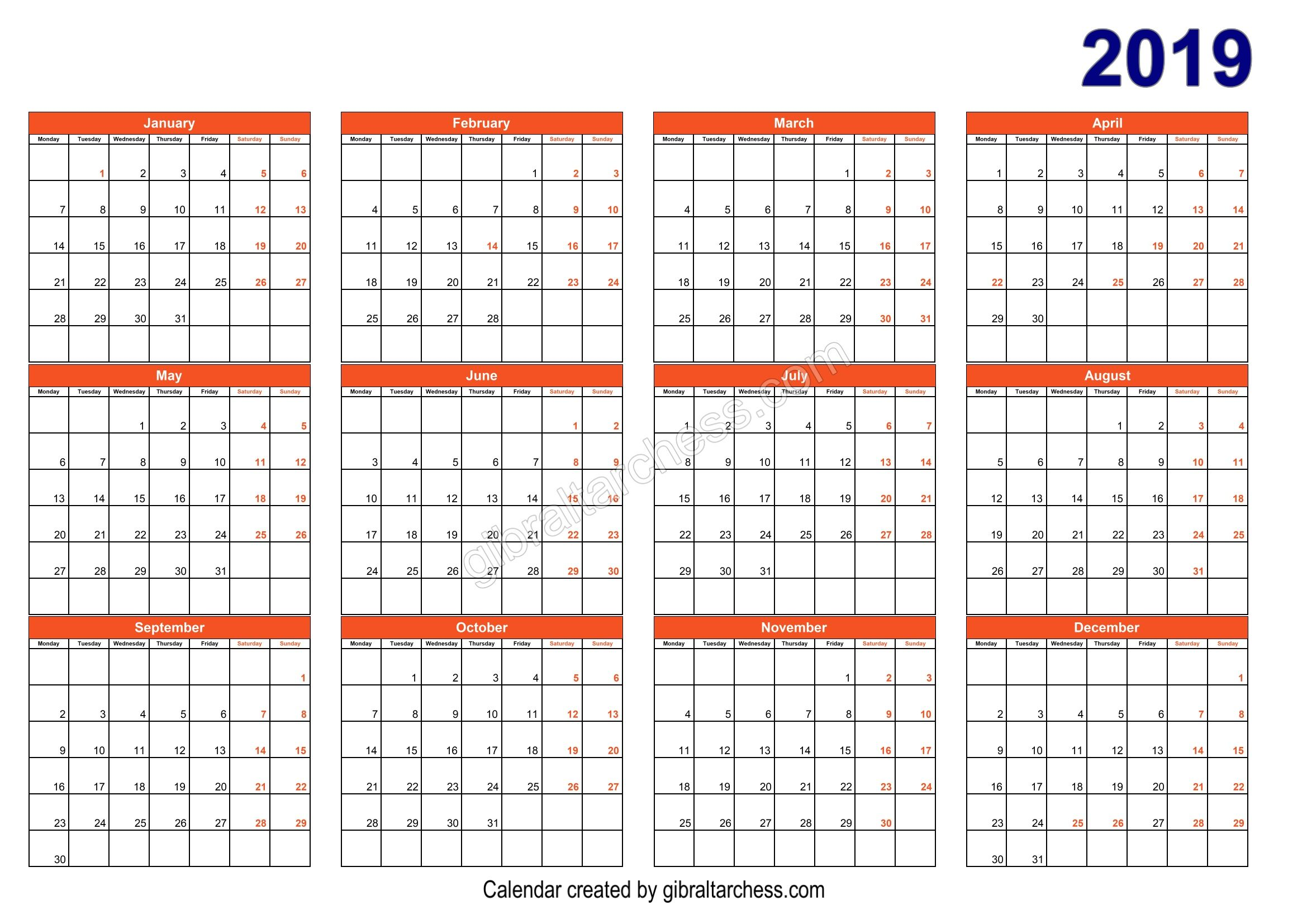 5 Template Excel Calendar 2019 Printable Free With Images