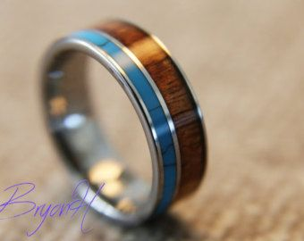 Inlay Wood Tungsten Carbide Ring Wedding Bands With Turquoise For Man Woman