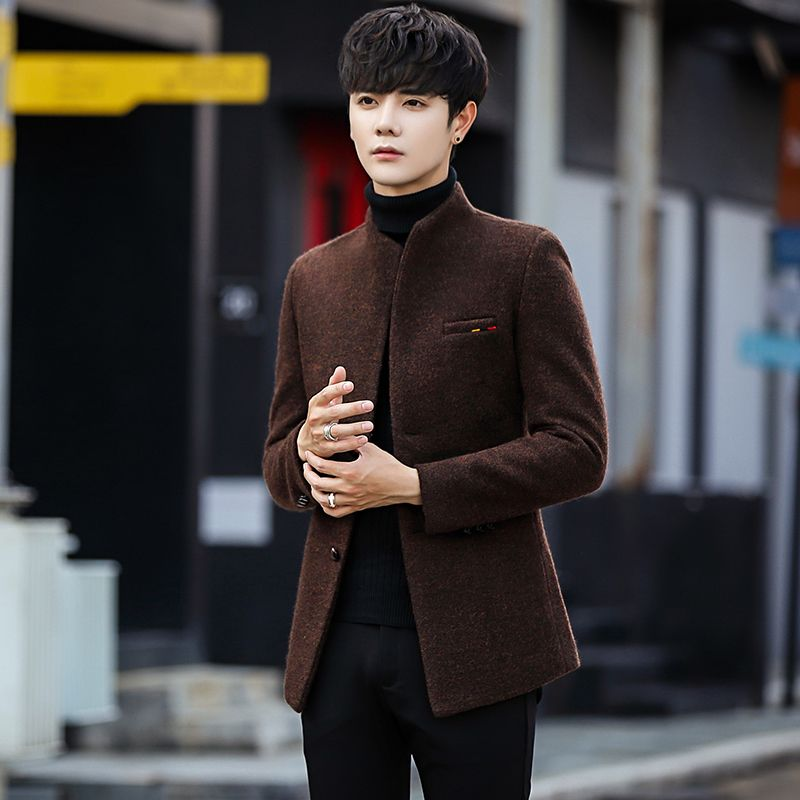 ecaf6990b90a6 2018 New Wool blend Winter Coat Men Short Men's Jackets Korean Man Jacket  Single Breasted Slim Mens Overcoat 4 color 5xl Review