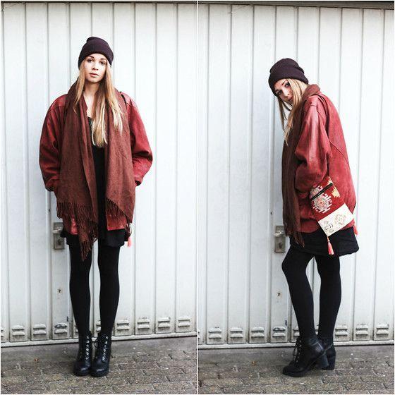Humana Vintage Leather Jacket, Gina Tricot Dress, Carhart Beanie