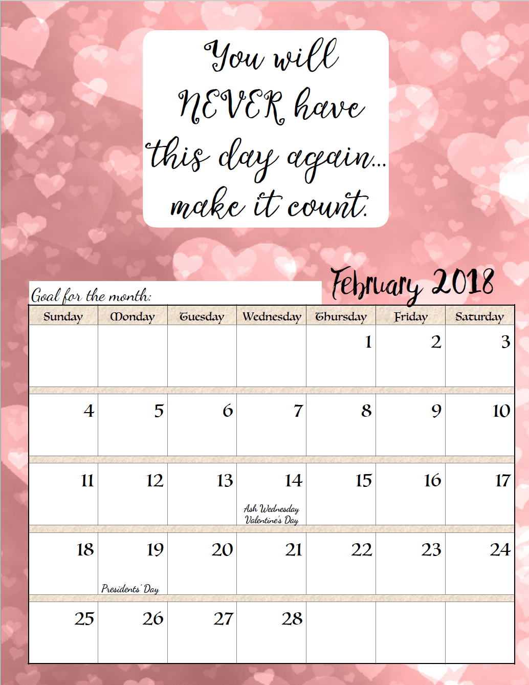 Free Printable Monthly Motivational Calendars