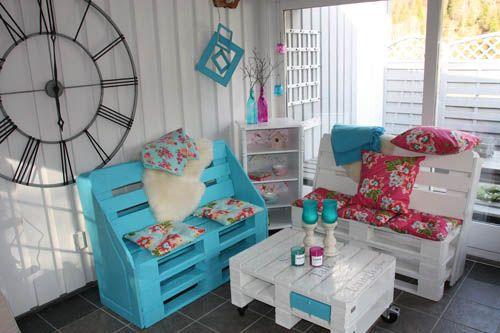 Terraza interior muebles palets - Muebles de terraza con palets ...