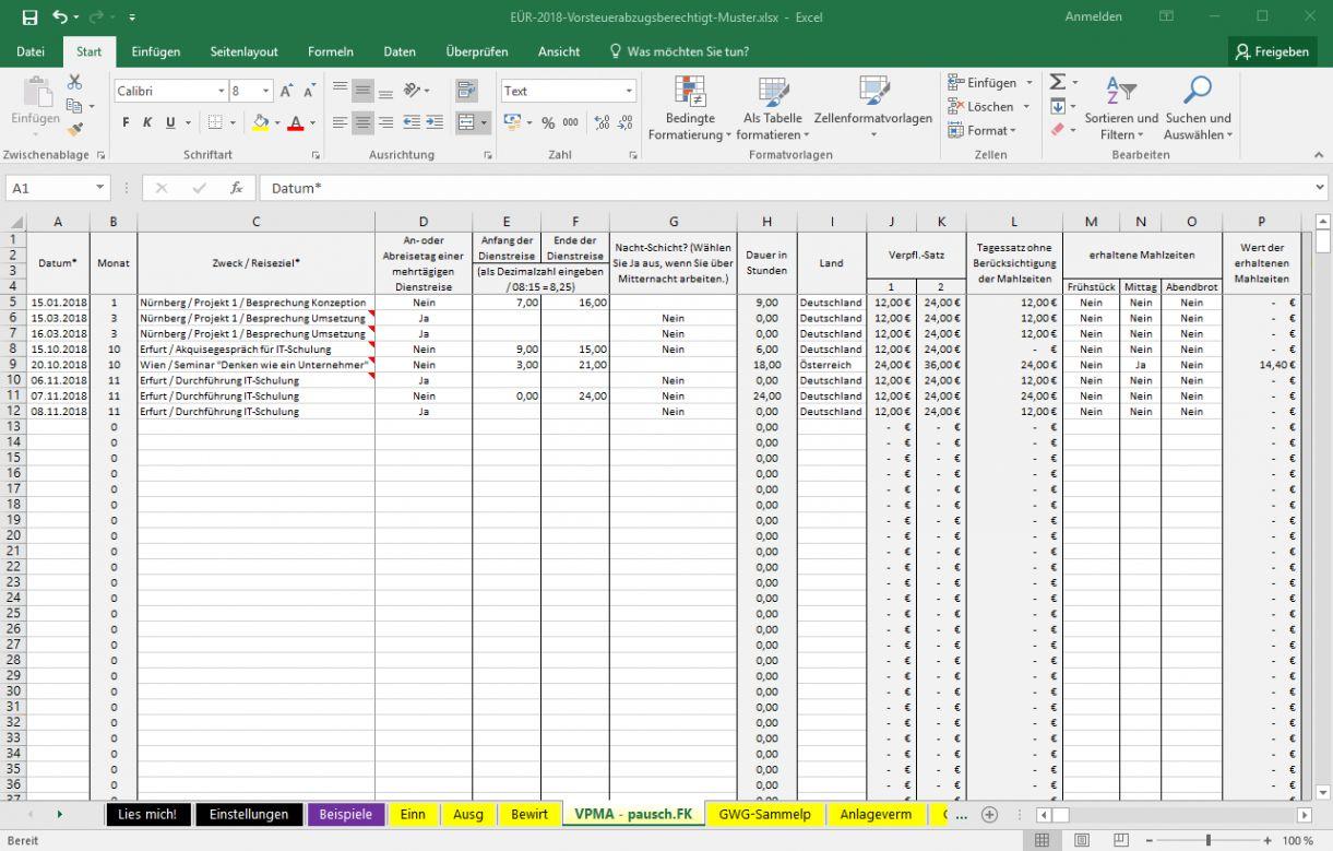 Excel Vorlage Einnahmenuberschussrechnung 2