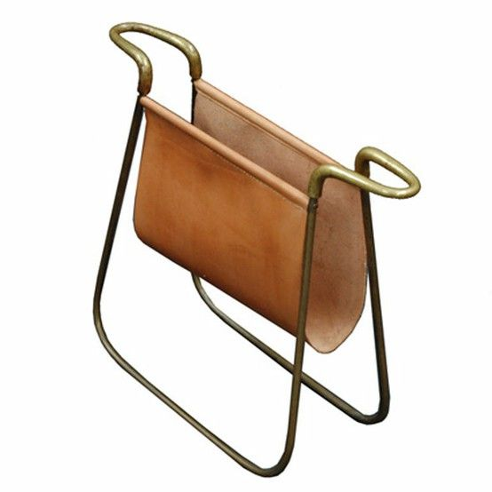 Brass and leather 1940s magazine holder