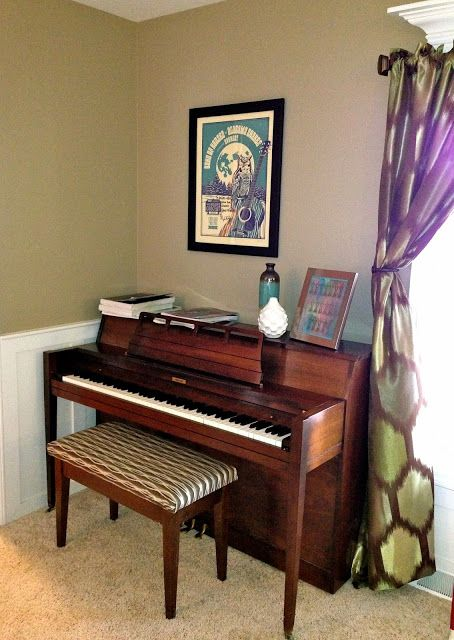 Diy No Sew Piano Bench Cover Diy Piano Piano Stool