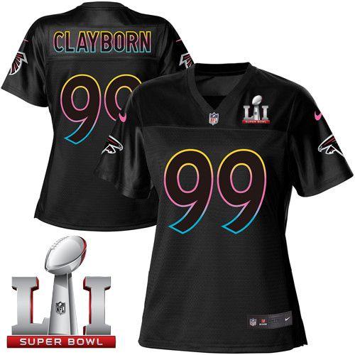 144190b8f Women s Nike Atlanta Falcons  99 Adrian Clayborn Game Black Fashion Super  Bowl LI 51 NFL