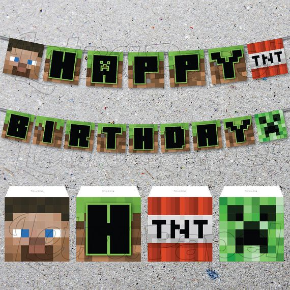 This is a photo of Peaceful Minecraft Birthday Banner Free Printable