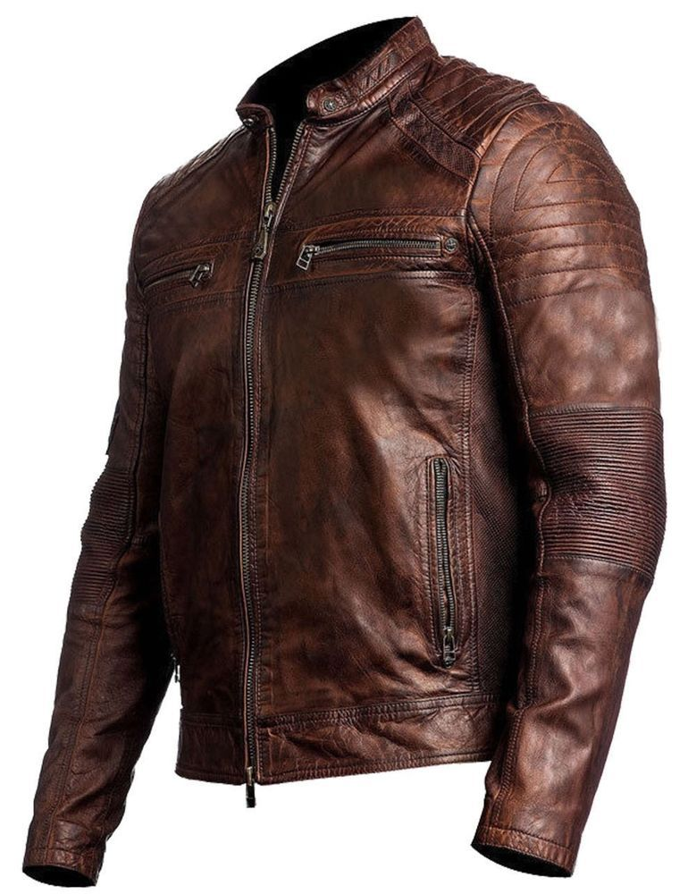Men S Biker Vintage Motorcycle Distressed Brown Cafe Racer Leather Jacket Clothes Shoes Accessories Clothing Coats Jackets