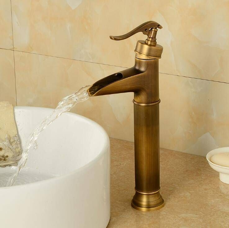 Basin Faucets Antique Brass Waterfall Bathroom Vessel Sink Faucet