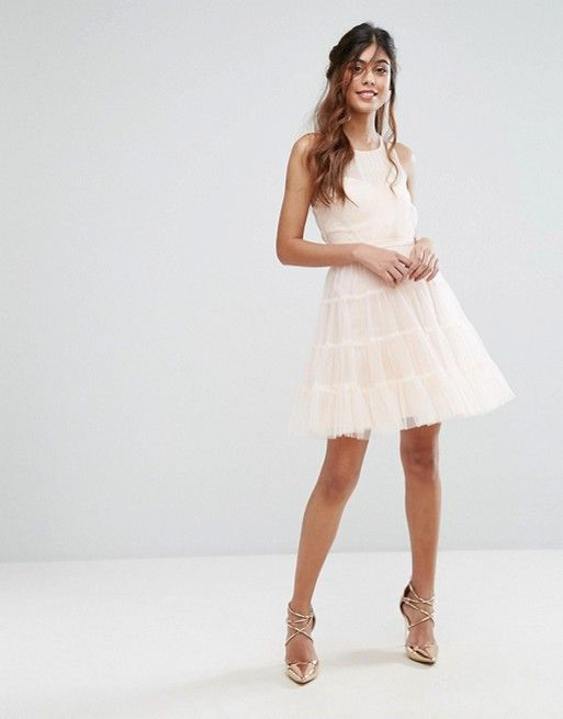 e148d614ddd ASOS - Little Mistress - Tulle Mini Dress In Tiers   Nude