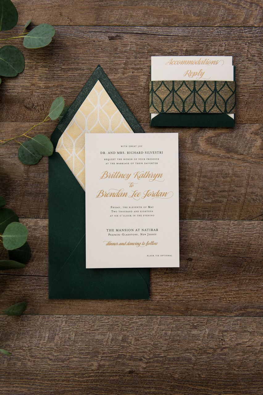 Custom green and gold matte thermography wedding invitation with a top, v-…  | Thermography wedding invitation, Emerald wedding invitations, Wedding  invitation cards